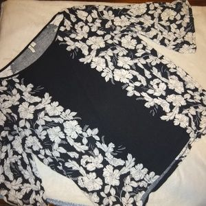 CATO black and white floral 3/4 sleeve top 22/24W